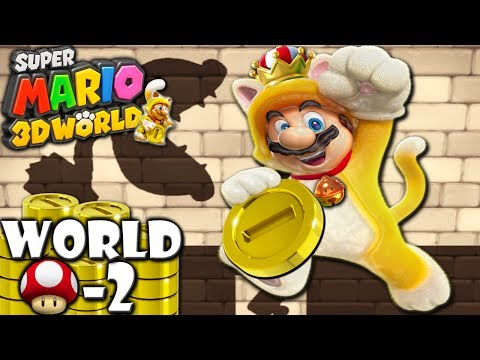 Super Mario 3D World: 2P Co-Op! Golden Cat King MUSHROOM-2 (Nintendo Wii U HD Gameplay Walkthrough)