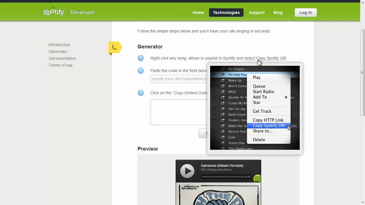 Spotify Play Button Widget Share Music Playlists On Blog or Website