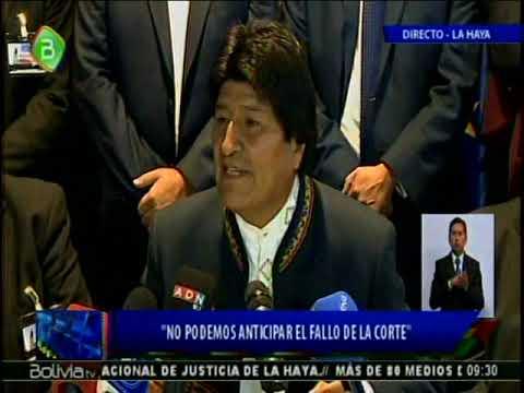 Conferencia de Prensa de Evo Morales luego del primer dia de Alegatos por el mar