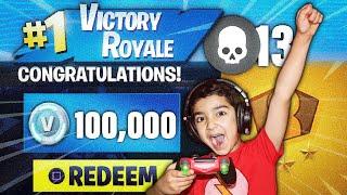 5 JAHRE ALTE LITTLE BROTHER ATTEMPTS TO WIN 100,000 V-BUCKS IN FORTNITE SOLO SHOWDOWN! (WIN V-BUCKS!)