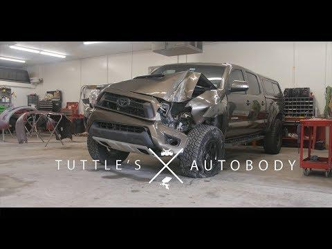 Toyota Tacoma  vs Telephone pole | Rebuild by Tuttles Autobody | 4k
