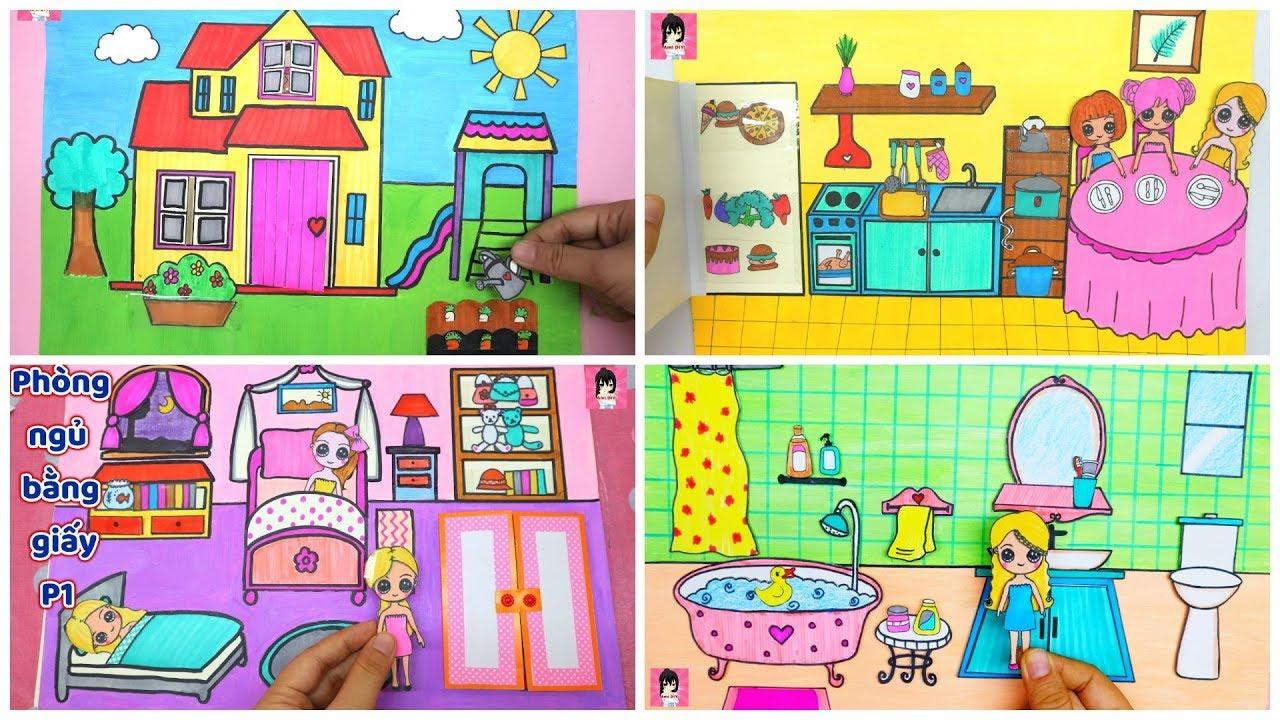 Hướng dẫn làm Nhà búp bê giấy FULL ngôi nhà, phòng tắm, bếp, phòng ngủ … Ami DIY