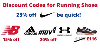Discount Codes for Running Shoes - save on Nike, adidas, New Balance, inov-8, Under Armour