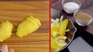 Schneide die Kartoffelhälften in Scheiben und haue sie ...