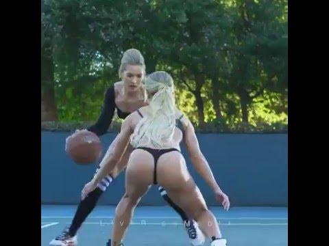 Fitness-Models Melody Rae und Tamra Dae spielen Basketball in sexy Unterwäsche