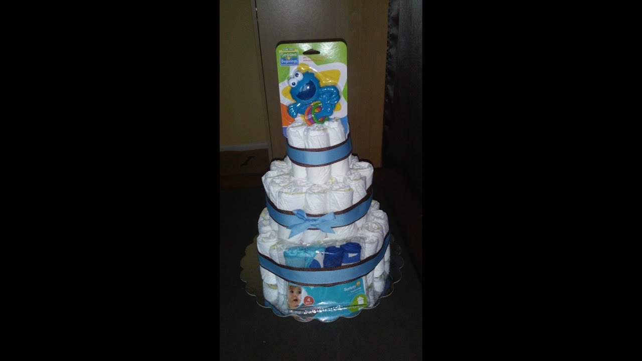 How To Make A 3 Tier Diaper Cake For Baby Boy