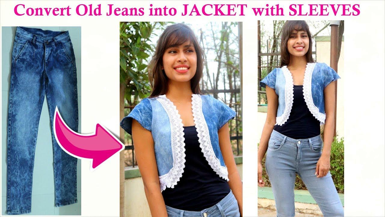 [VIDEO] - Convert Old Denim into Girls Jacket with SLEEVES | Bolero looking Jacket 8
