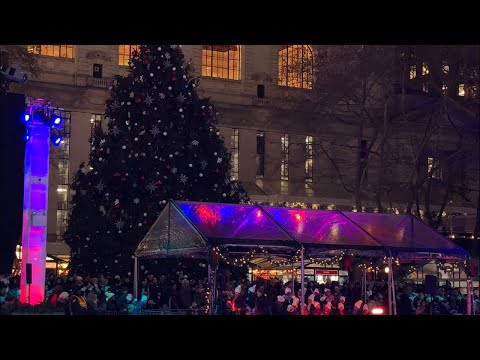 NYC LIVE 2019 Bryant Park Tree Lighting And Ice Skating Part 1 (December 5, 2019)