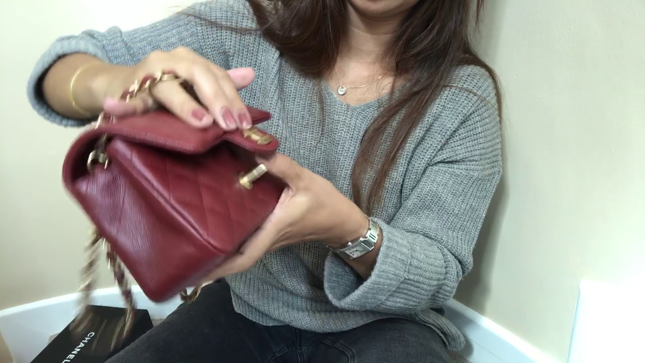 f2eff0bdb378 Unboxing Chanel rectangular mini in burgundy iridescent from 18C  collection! ❤ 💋