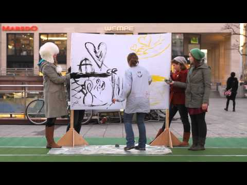 Live painting in downtown Frankfurt, Germany