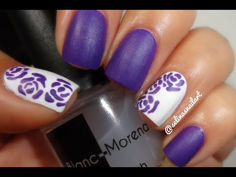 Easy Purple Roses Nail Art Tutorial - YouTube