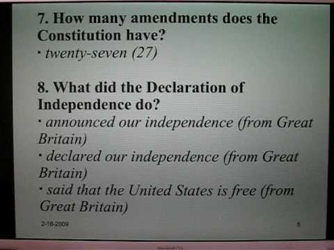 Examen de Ciudadanía Americana 1. Preguntas 1-25