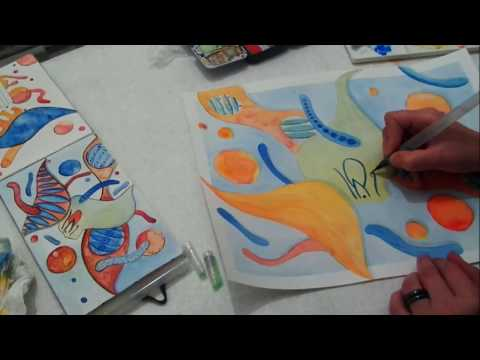 Watercolor Abstract painting time lapse