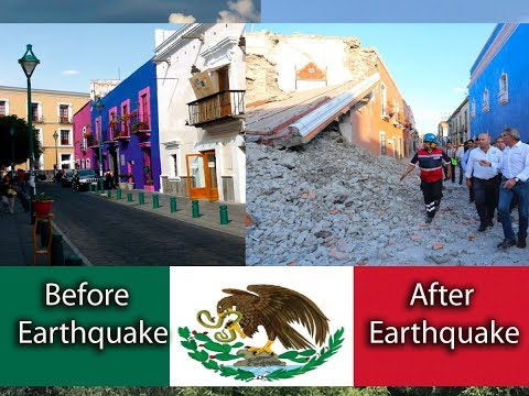 Puebla earthquake mexico 2017: Before and After, hotels, city centre, shops, churches,  tourism