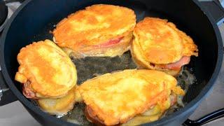 Горячие бутерброды на сковороде c колбасой сыром яйцом и помидором вкусный рецепт