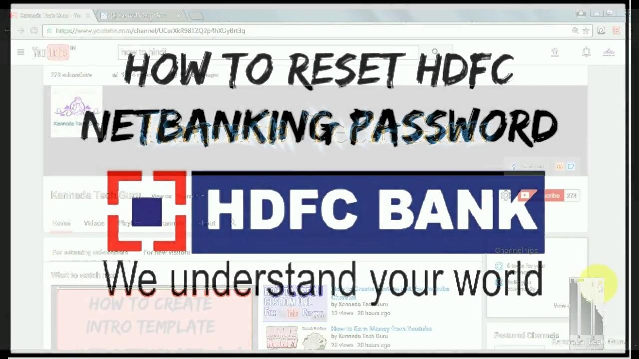 hdfc netbanking forgot password youtube