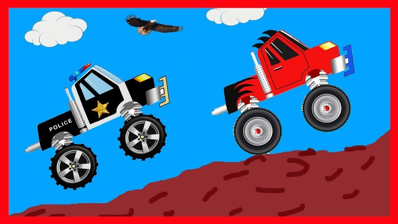 Monster Truck Compilation cartoon with Police care race