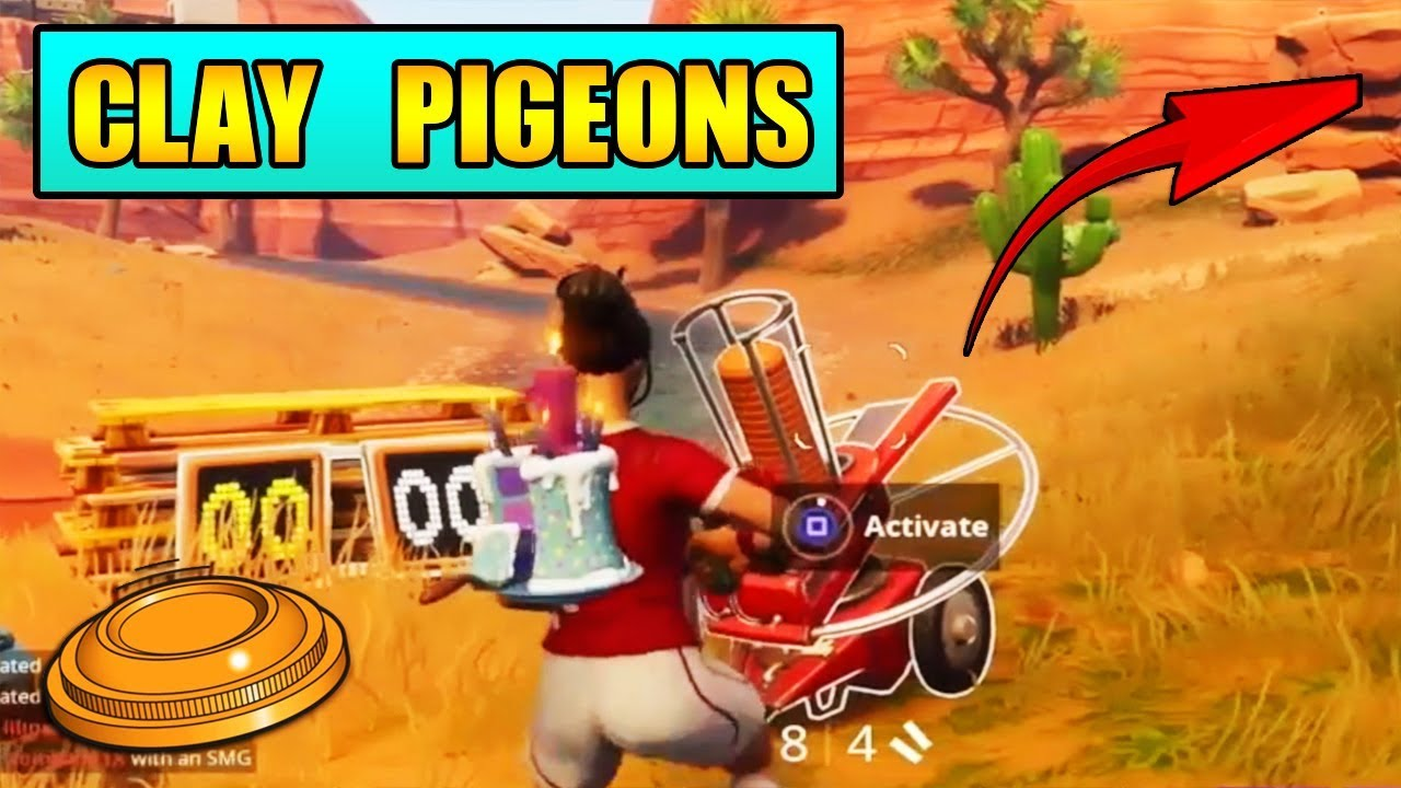 all shoot a clay pigeon at different locations fortnite week 3 challenge - fortnite week 3 shoot a clay pigeon