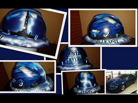 custom painted blue mustang hard hat - YouTube cb21c83f0c5d
