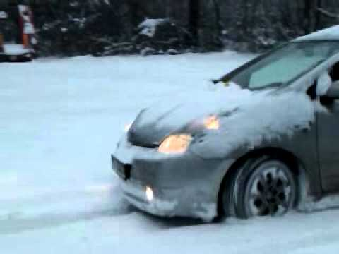 Toyota Prius Hybrid In Really Snow