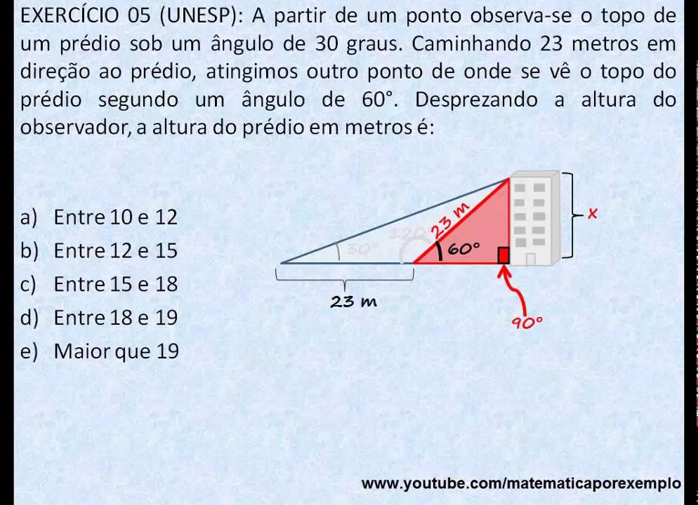 Trigonometria no Triângulo Retângulo - Exercício 05 - YouTube 1736cacc84