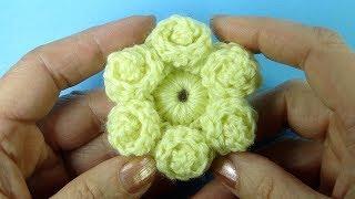 ЧУДО ЦВЕТОК С ЗАВИТКАМИ вязание крючком вязаные цветы