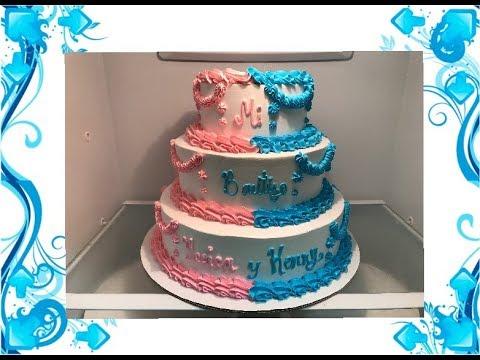 Como decorar pastel de bautizo para Nio y nia de tres pisos YouTube