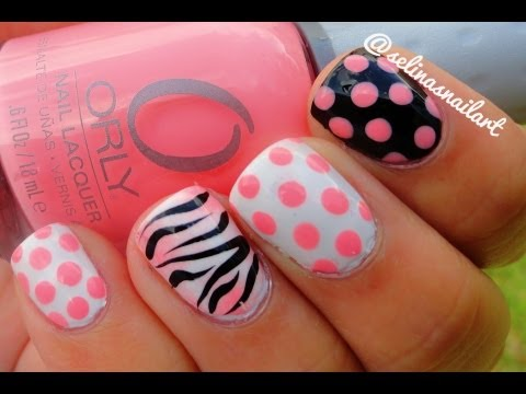 Polka Dot Zebra Print Nail Art Tutorial Youtube