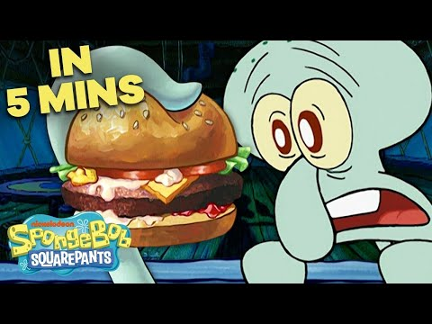 Squidward's First Krabby Patty 🍔 In 5 Minutes! | SpongeBob SquarePants