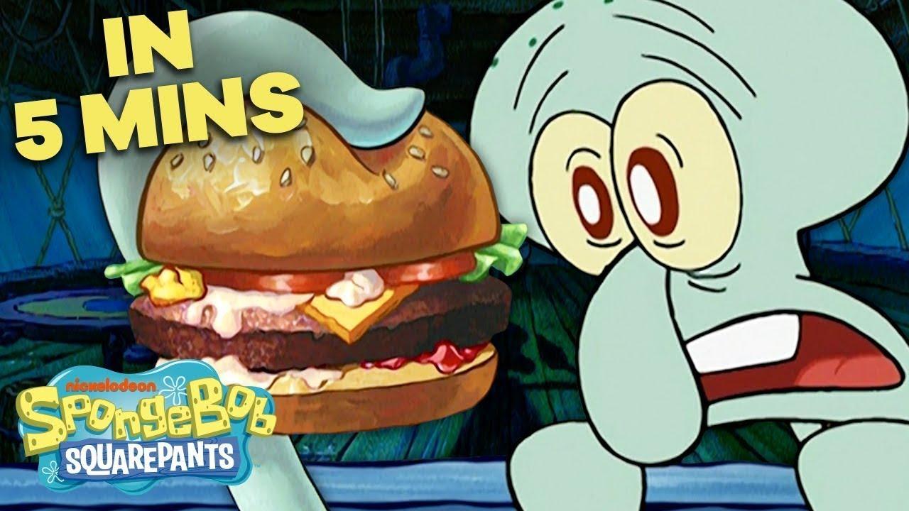 Download Squidward's First Krabby Patty 🍔 in 5 Minutes! | SpongeBob SquarePants