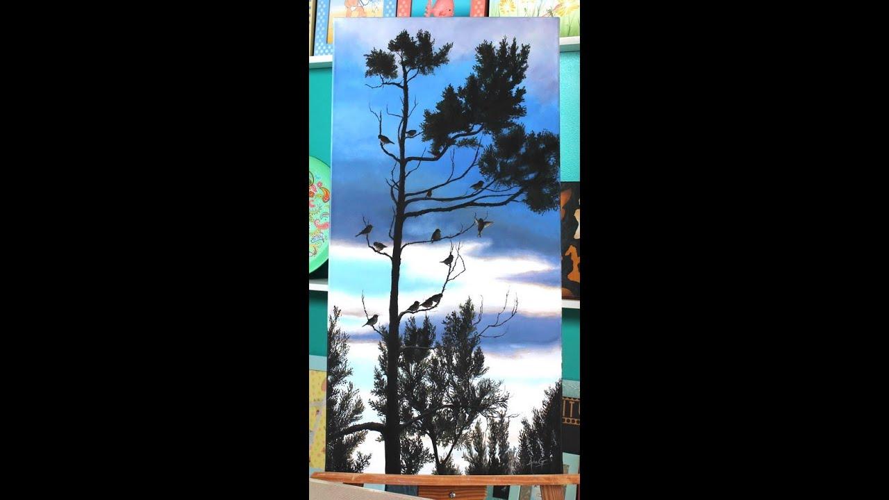 Como pintar un cuadro de paisaje  Pinturas acrilicas