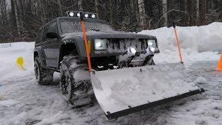 Тест Крутого Отвала На Радиоуправляемой Машине Jeep Cherokee 4wd (Axial Scx10 2 Snow Plow)