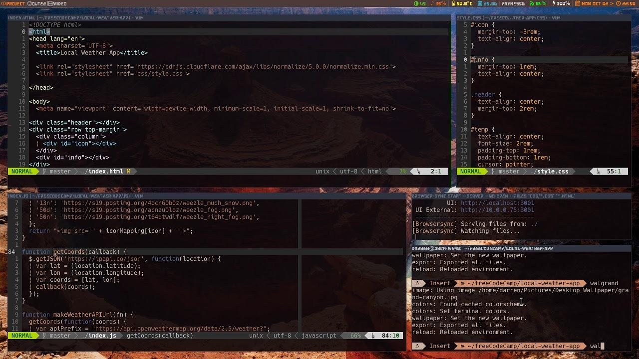 Arch Linux - i3 gaps - pywal - web-dev setup