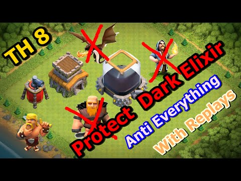 Town Hall 8 (TH8) best Farming Base 2016 - Protect your Dark Elixir (Defense Replays)
