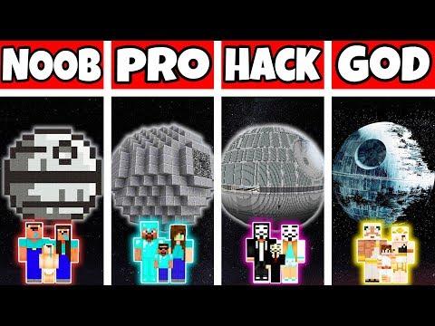 Minecraft: FAMILY STAR WARS DEATH STAR BUILD CHALLENGE - NOOB Vs PRO Vs HACKER Vs GOD In Minecraft