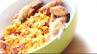 Jollof Rice With Kidney Beans And Chicken Wings