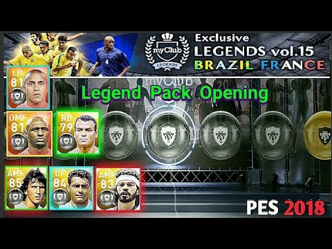 Exclusive LEGENDS vol.15 BRAZIL FRANCE Pack Opening | PES 2018 MOBILE