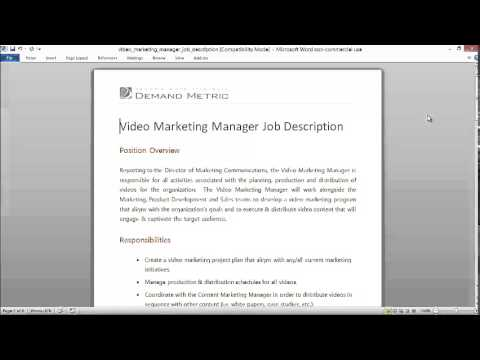 Video Marketing Manager Job Description - Youtube