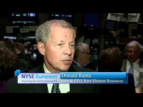 16 August 2011 Rare Element Resources rings the NYSE Opening Bell