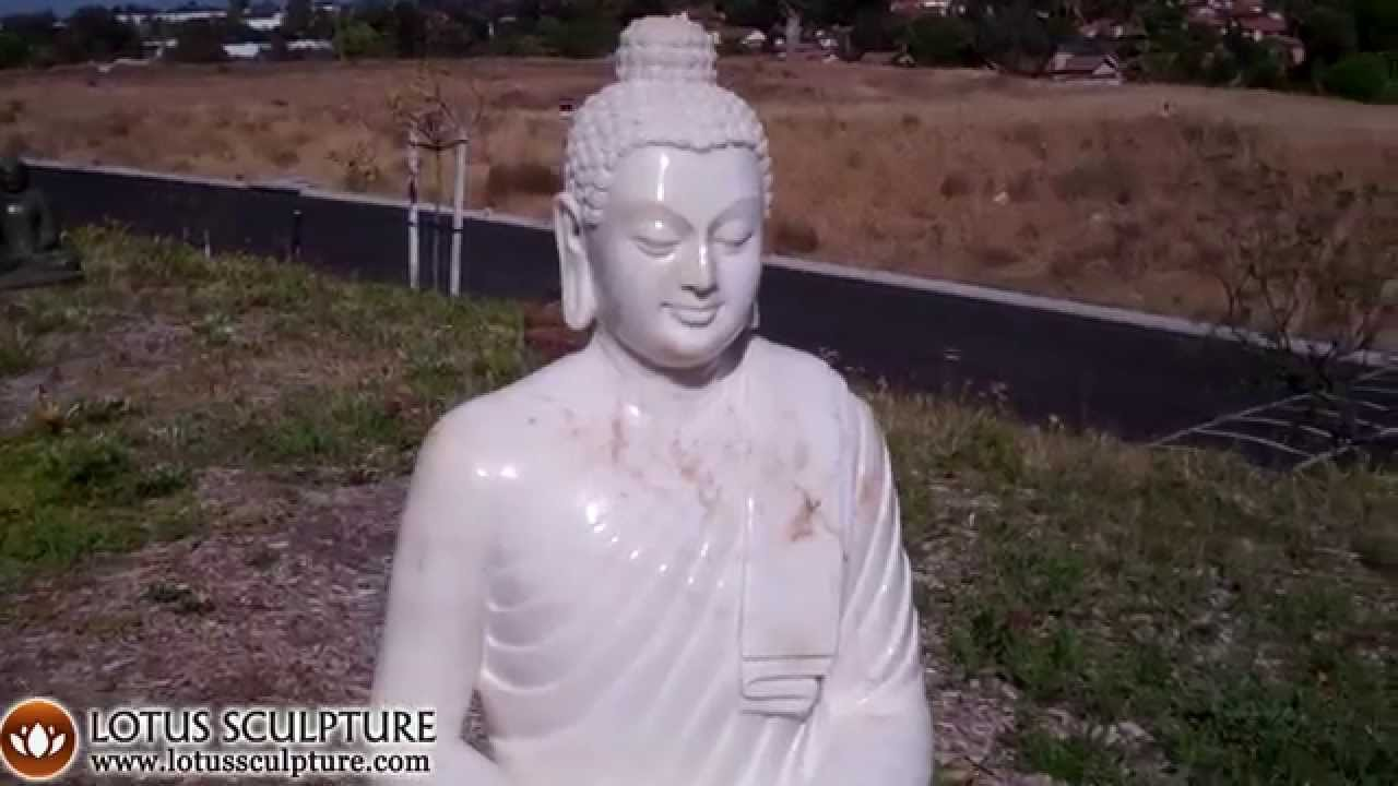 Large White Indian Buddha Garden Statue Www.lotussculpture.com
