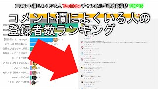 コメント欄によくいる人YouTubeチャンネル登録者数推移TOP15