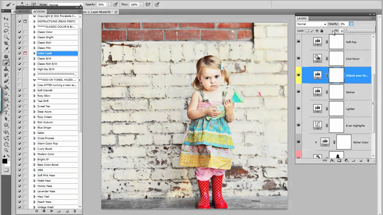 Florabella Color Lush Photoshop Action (How to add Color Pop in Photoshop)