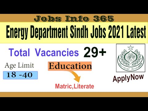 Latest Jobs in Karachi 2021 Today| Energy Department Sindh Jobs 2021| Sindh Govt Jobs 2021