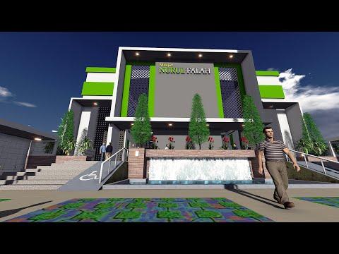 desain masjid modern minimalis ukuran 25 m x 40.5 m/modern