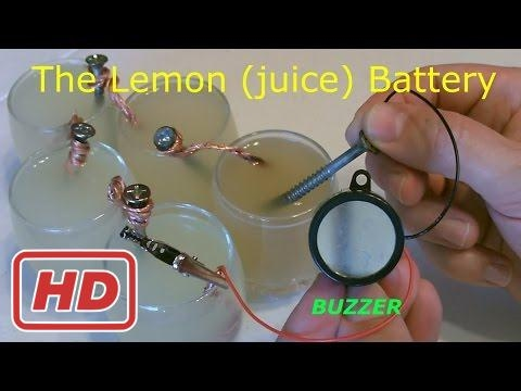 """Lemon Battery - Powers an Electric Buzzer! (and more...) - Homemade """"lemon juice"""" Battery - Easy DI"""
