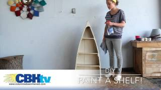Paint your own! DIY painting project from the Columbia Basin Herald. The shelf was picked up at a Relay for Life garage sale and