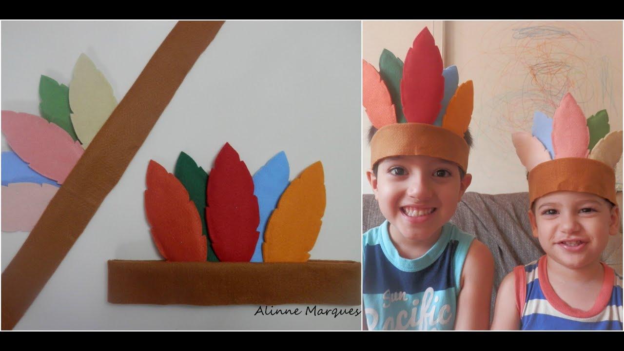 Cocar Indigena Em Feltro Artesanato Passo A Passo Youtube