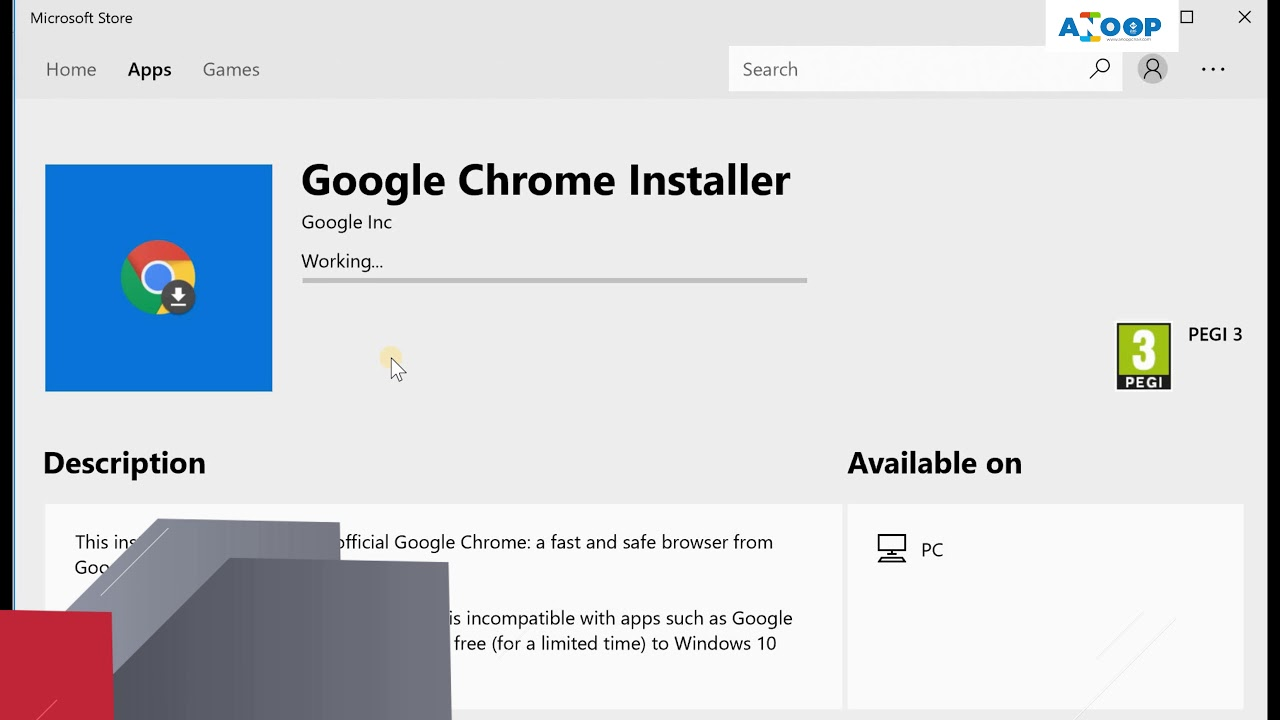 Google Chrome Download Link in Microsoft Store