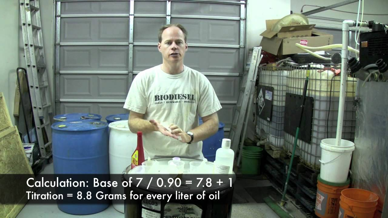 titrating oil for biodiesel with potassium hydroxide and sodium