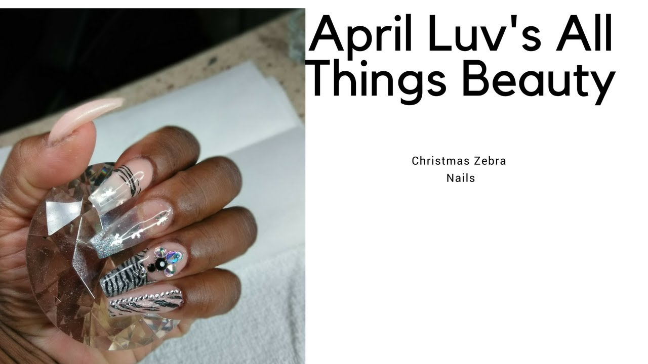 Nails/ Zebra Christmas Nails/ April Luvs All Things Beauty - YouTube